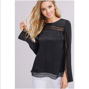 Lustrous Silky Top With Lace Trim